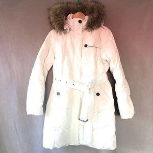LANDS END down puffer coat faux fur parka hoodie